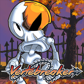 A skeleton with a whip standing in a graveyard with the Vertebreaker superimposed over the background.