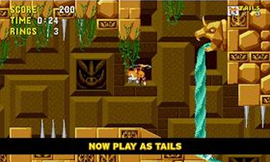 Tails the Fox flying around in the Labyrinth Zone of Sonic the Hedgehog Remastered.