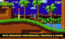 Sonic the Hedgehog running through Green Hill Zone in Sonic the Hedgehog Remastered.