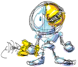 A piece of concept art of the skeleton main character.