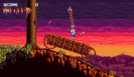 The skeleton main character of Vertebreaker swinging from a ceiling using his whip.