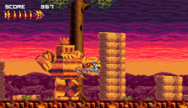 The skeleton main character of Vertebreaker pushing off the ground with his whip.