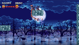 The skeleton main character of Vertebreaker swinging from a tree with his whip.